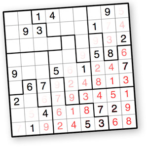 photograph about 16 Square Sudoku Printable identified as Jigsaw Sudoku Puzzles as a result of Krazydad