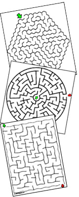 Mazes, Free Printables, Easy to Hard